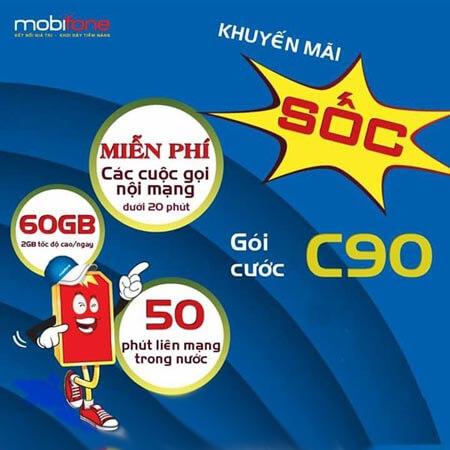 Đăng ký gói cước C90 MobiFone ưu đãi tới 60GB data mỗi tháng và gọi điện thoại nội mạng miễn phí